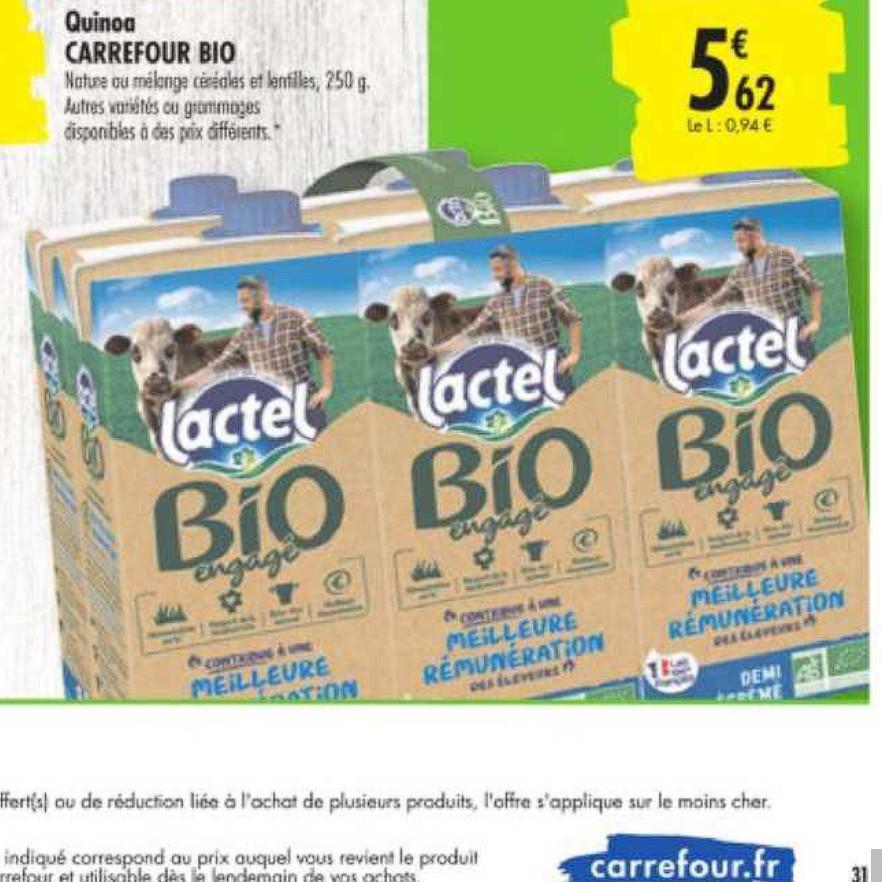 Lait Lactel Carrefour du 23/06/2020 au 06/07/2020
