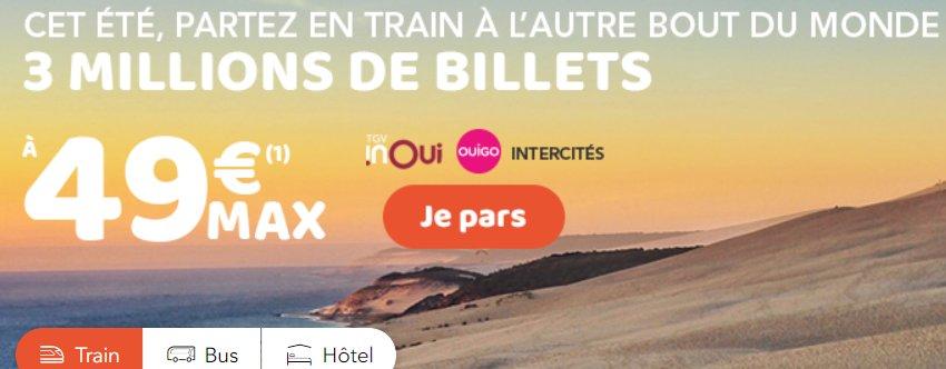 OUI SNCF : 3 millions de billets à 49€ maximum pour cet été