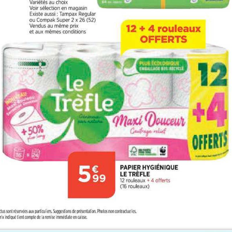 Papier Toilette Le Trèfle Atac (08/07/2020 – 13/07/2020)