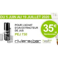 Offre de Remboursement Riviera & Bar : 35€ Remboursés sur Extracteur de Jus PEJ 730