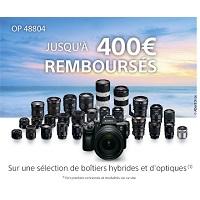 Offre de Remboursement Sony : Jusqu'à 400€ Remboursés sur Boitiers Hybrides et Optiques