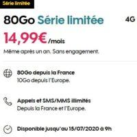 14.99€ le forfait sosh illimité  80Go