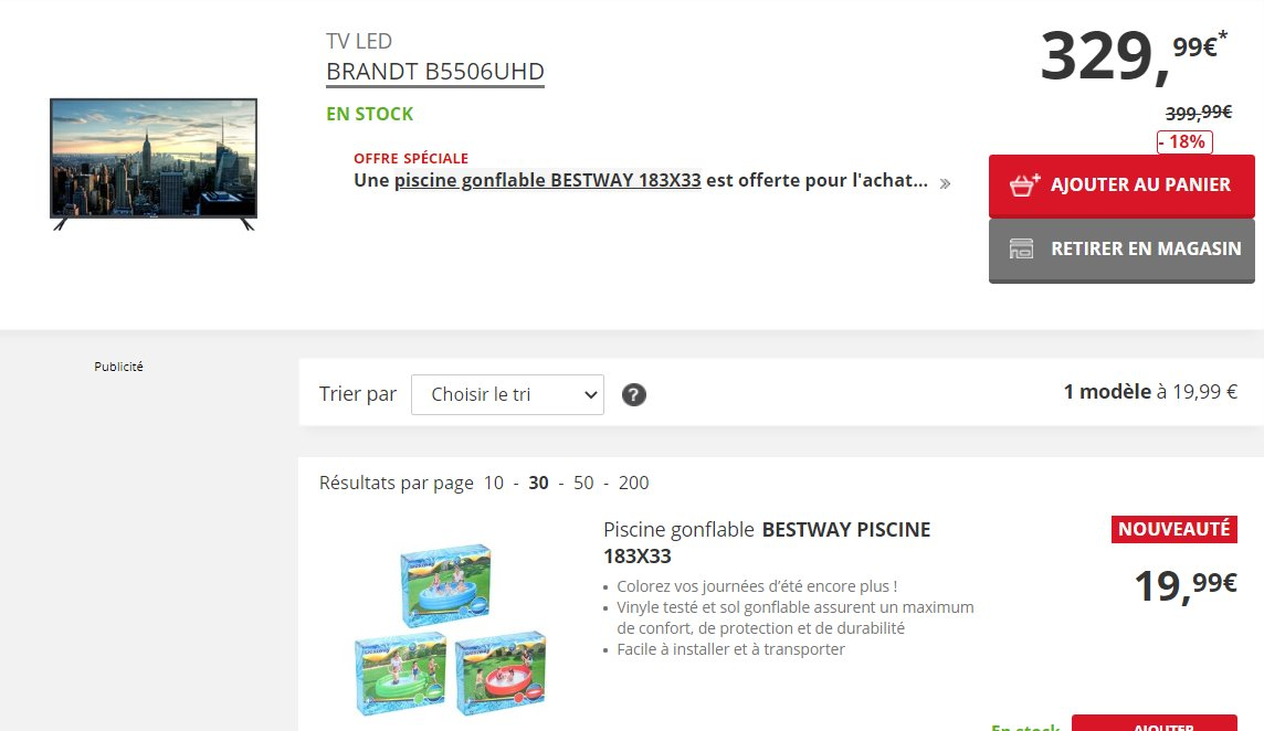 329.99€ la tv BRANDT 55 pouces + une piscine