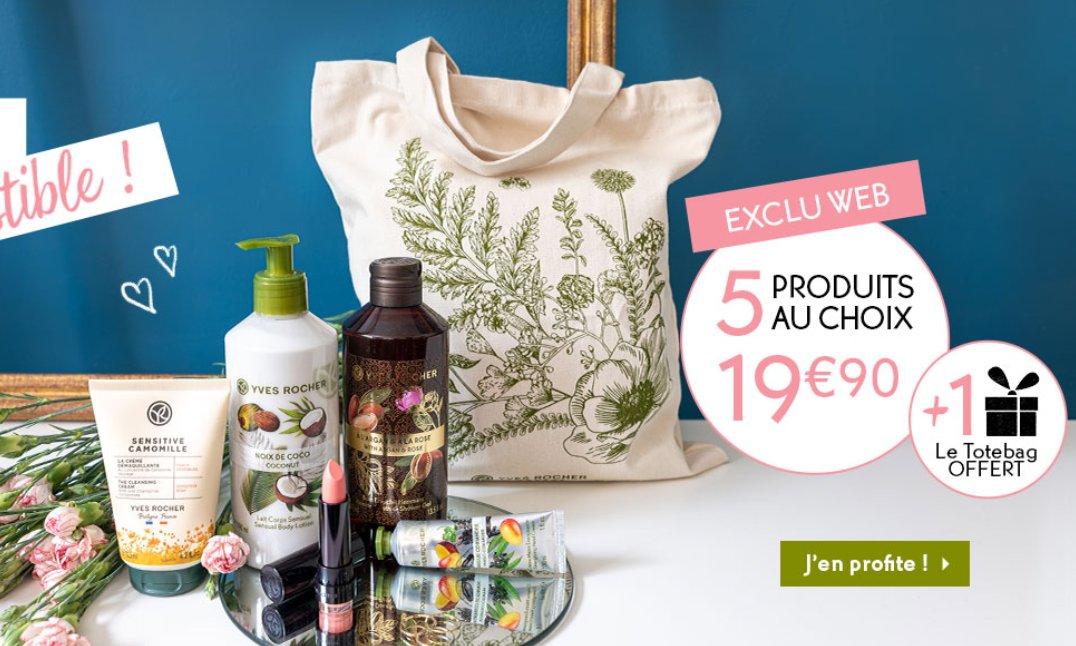 19.9€ les 5 produits + 1 tote bag chez YVES ROCHER