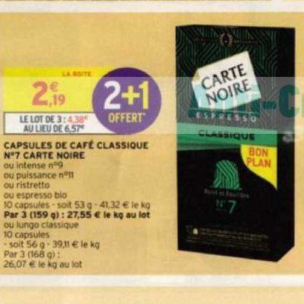 Café en Capsules Carte Noire chez Intermarché (28/07 – 09/08)