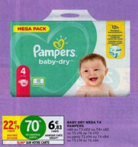 Couches Pampers Baby-Dry chez Intermarché (16/07 – 26/07)
