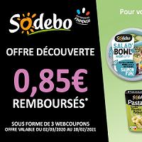 Offre de Remboursement Sodebo : 0,85€ Remboursés en 3 Webcoupons