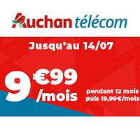 9.99€ par mois le forfait mobile AUCHAN TELECOM 100Go pendant 12 mois