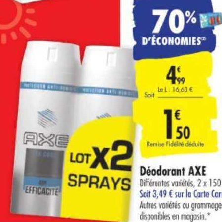 Déodorant Axe chez Carrefour (04/08 – 10/08)