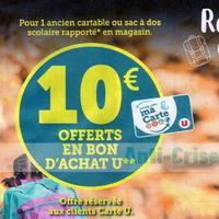 Magasins U : 10€ en Bons d'Achat en Ramenant votre Ancien Cartable