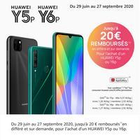 Offre de Remboursement Huawei : Jusqu'à 20€ sur Smartphone Y5p ou Y6p