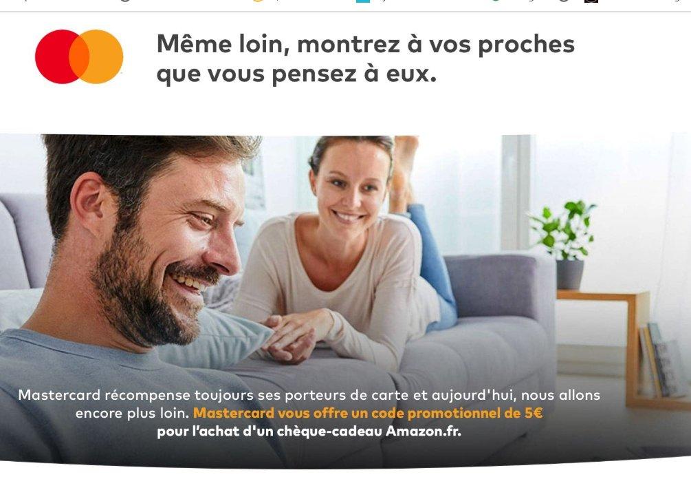 Amazon : 5€ offerts pour l'achat d'une carte cadeau de 20€ payée avec une carte mastercard