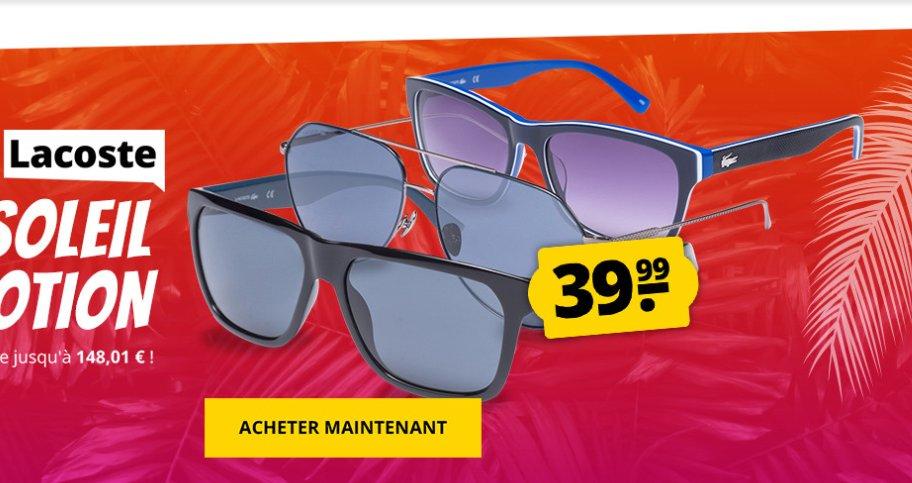 39.99€ les paires de lunettes Lacoste