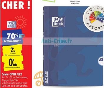 Cahier Open Flex Oxford chez Carrefour (04/08 – 10/08)
