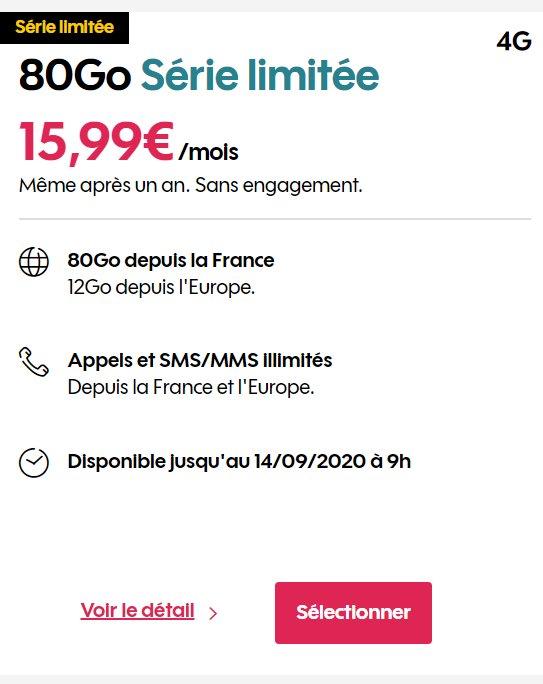 14.99€ le forfait mobile SOSH 80Go