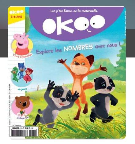 18€ les 8 numeros de OKOO + Toupie Jeux (pour les 3 – 6 ans)