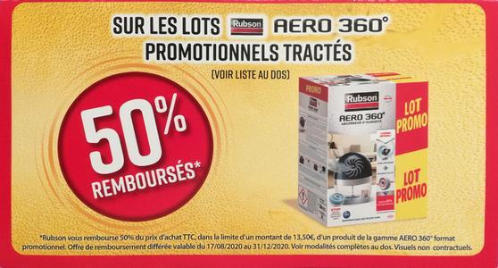 Offre de Remboursement Rubson : 50% Remboursés sur Aero 360° promotionnels